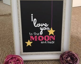 Chalkboard frame I love you to the moon and back baby gift anniversary wedding decor hand drawn