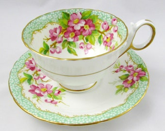 """Delphine Green """"Orchard"""" Tea Cup and Saucer with Flowers, Vintage Bone China"""