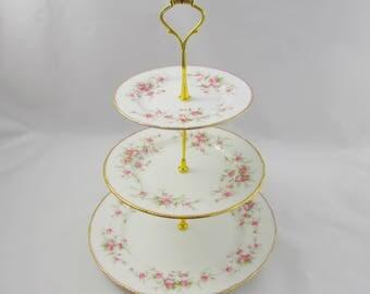 "Paragon Three Tier Cake Stand ""Victoriana Rose"", Vintage Bone China, Paragon Cakestand, Pink Roses"