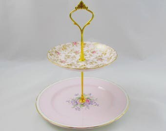Two Tier Pink Cake Stand, Mismatch, Vintage Bone China, Two Tier Mismatched Cake Stand, Cakestand, Paragon, Tuscan