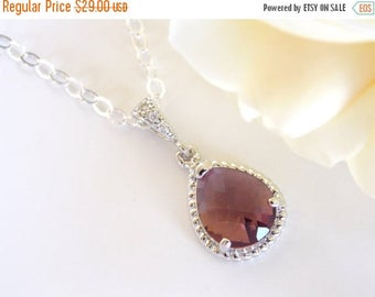 SALE Bridesmaid Jewelry, Plum Necklace, Eggplant, Burgundy, Purple, Sterling Silver, Cubic Zirconia,Bridesmaid Gifts,Pendant,Bridesmaids Nec