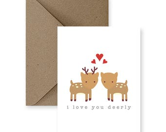 Valentine's Day Card, Cute Love Card, Funny Love Card, Card for Him, Card for Boyfriend, Card for Husband, Card for Her | I Love You Deerly