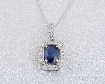 White Gold Sapphire and Diamond Pendant with Chain