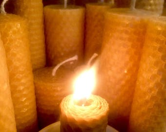 Beeswax Candle, Short Narrow Pillar Candle, 100% Pure Beeswax