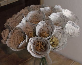 Beautiful handmade book print flowers, ideal 1st anniversary gift, bouquet of paper flowers