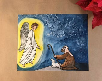 Angels and Shepherds Glad Tidings Christmas Small Photo Prints Watercolor Holiday Art Iconography Religious Icons Byzantine style Christmas