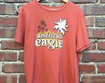 ON SALE Vintage American Eagle Graphic T-Shirt Orange