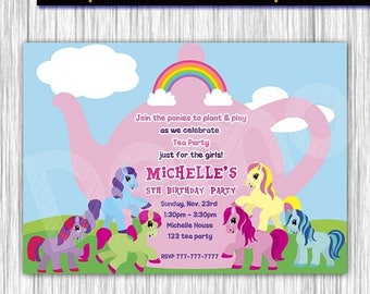 50% Off My Little Pony, Tea Party, Invitation, Ponies Invitation, Ponies Tea Party, My Little Ponies, Birthday, Party Invitation, Ponies Car