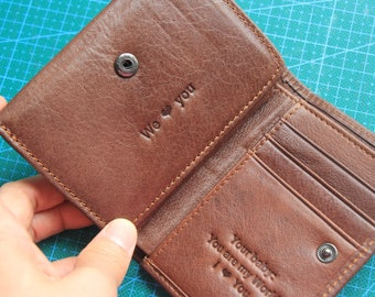 Gift for Men; Three Fold Wallet; Genuine Cow Leather Wallet; RFID Shield; Functional Wallet; Men's Wallet; Wedding Gifts;Personalized Wallet