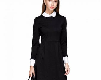 Elegant Collared Long Sleeve Dress