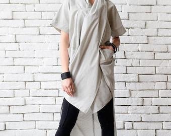 ON SALE Light Grey Asymmetric Tunic/Extravagant Summer Top/Plus Size Tunic Top/Grey Long Shirt/Short Sleeve Casual Tunic/Grey Oversize Tunic