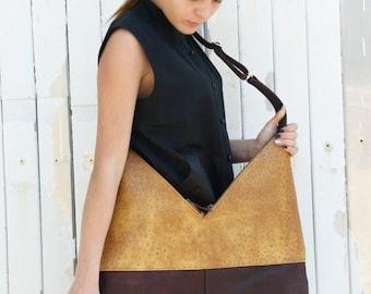 SALE Brown Leather Bag / Maxi Tote Bag / Shoulder Bag / Genuine Leather Bag/ Large Tote Bag / Two Color Leather Bag / Interesting Pattern Ba