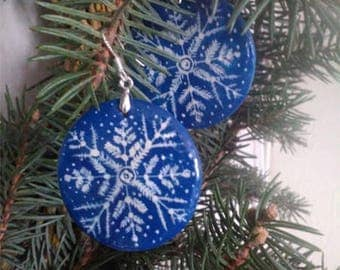 Christmas gift Wooden earrings Winter ornament Snowy ornament Snowflake earrings Gift for her New Year gift