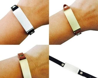 SALE SALE Fitbit Bracelet for FitBit Flex Fitness Trackers - The KATE Single Strap Studded Brushed Metal & Premium Vegan Leather Buckle Brac