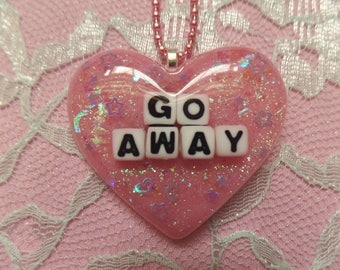 Kawaii Go Away Resin Heart Necklace