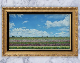 Tulip Fields in the Netherlands - Original Oil Painting