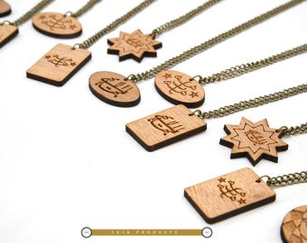 10 or 12  pieces Bahai Wooden Necklaces/ Baha'i Wooden Pendants/ Bahayi gifts/ Gift for Bahai Person/ Custom Baha'i jewelry/ Jewelry by Wood