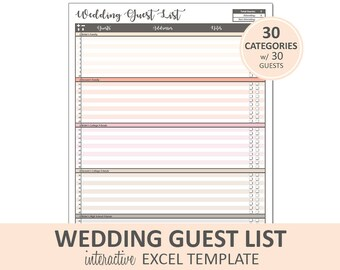 Peachy Wedding Guest List - Guest List Printable | Excel Wedding Guest List Planner | Printable RSVP Tracker | Instant Digital Download