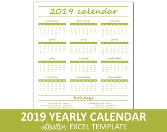 Elegant Yearly Calendar - 2019 - Printable   Excel Calendar Template   Annual Calendar Printable   Instant Digital Download