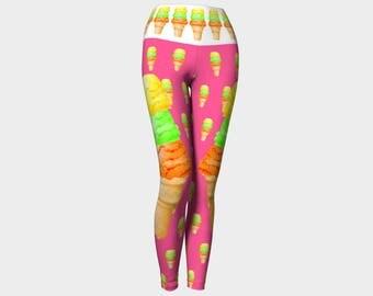 Triple Decker Yoga Leggings XS S M L XL Ice Cream Cone Lime Lemon Orange Pants Women Teen Ladies Clothes Exercise Wearable Art Clothing
