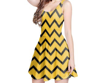 Hufflepuff  House Chevrons Harry Potter Inspired - Sleeveless Skater Flared Dress in XS-3XL -  000937