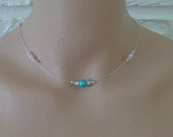 Necklace blue white pearls wire hypoallergenic available on wedding