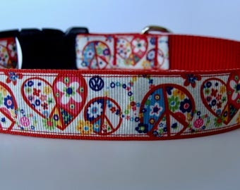 Hippie Dog Collar - Red Peace Signs & Hearts - Ready to Ship!