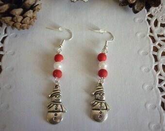 Earrings Santa charm and beads.