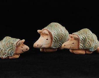 Armadillo Family, Set of 3 Terra Cotta Sculptures by Southwest Clay Artist, Karlene Voepel