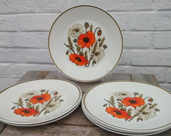 Vintage Set of 6 Dinner Plates - J and G Meakin Eve Midwinter 'Poppy' Design 1960s 1970s