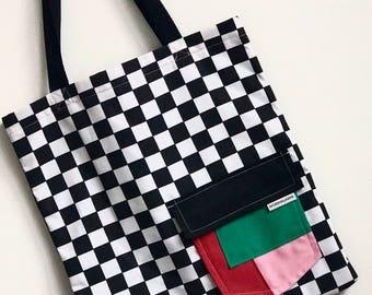Checkerboard Block Colour Pocket Tote Bag Nordiklader