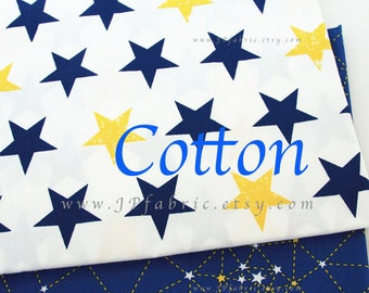 Blue Celestial Stars space cotton fabric home decor fabric by the yard