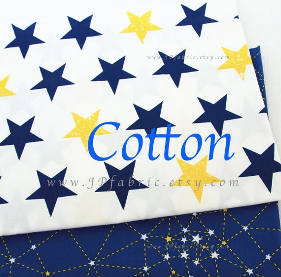 Items similar to blue celestial stars space cotton fabric for Celestial fabric by the yard