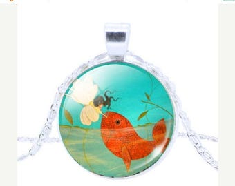 Clearance sale Wealthy Fish Pendant Glass Dome Necklace, Women, Good Luck , Fortune , Lucky, Money, Love