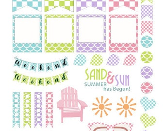 Sand and Sun Planner Stickers 43 piece set , Journals , Calendar , reminder , Labels , Teens , Adults