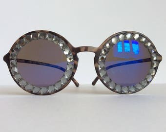Diamanté Blue -  Matte Tortoiseshell Bling Glitz Embellished Sunglasses GLASS Rhinestones Mirrored Lens