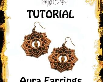 TUTORIAL - Aura Earrings - Macrame pattern - earring tutorial - knotting guide