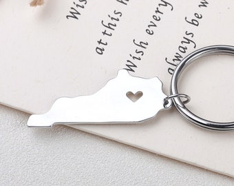 I heart Kentucky keychain - Kentucky keyring - State Charm - Map Jewelry - Map keychain