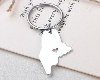 I heart Maine keychain - Maine keyring - State Charm - Map Jewelry - Map keychain