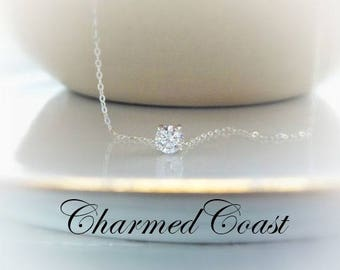 April Birthstone Jewelry Diamond Crystal Necklace Clear Crystal April Birthday Floating Diamond Necklace Dainty Silver Necklaces