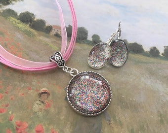 romantic set necklace and earrings glitter cabochons