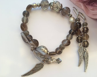 vintage set of glass taupe and silver beads