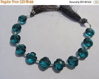 summer sale 7 inches AAA Teal Blue Quartz Faceted Clover Briolette Size 13*13 MM Approx Clover Beads Gemstone