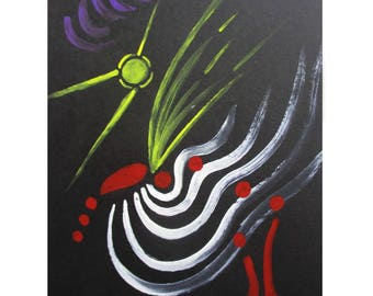 """Art original watercolor painted hand - symbolic and abstract - card """"Freedom"""" on black Bristol paper"""