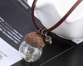 Glass Globe Necklace Flower