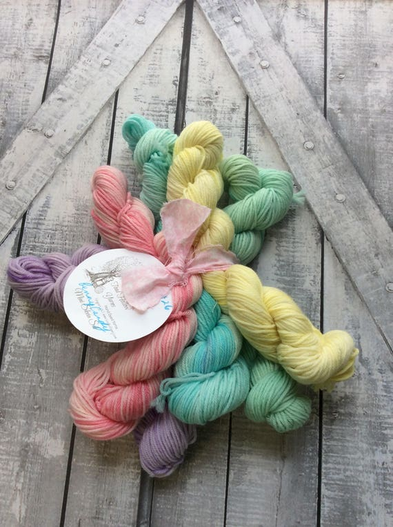 Hand Dyed Yarn Mini Skeins,Penny Candy Mini Skein Set,Fingering Weight, Superwash Nylon,indie dyed yarn,Penny Candy Mini Skein Sock Yarn Set
