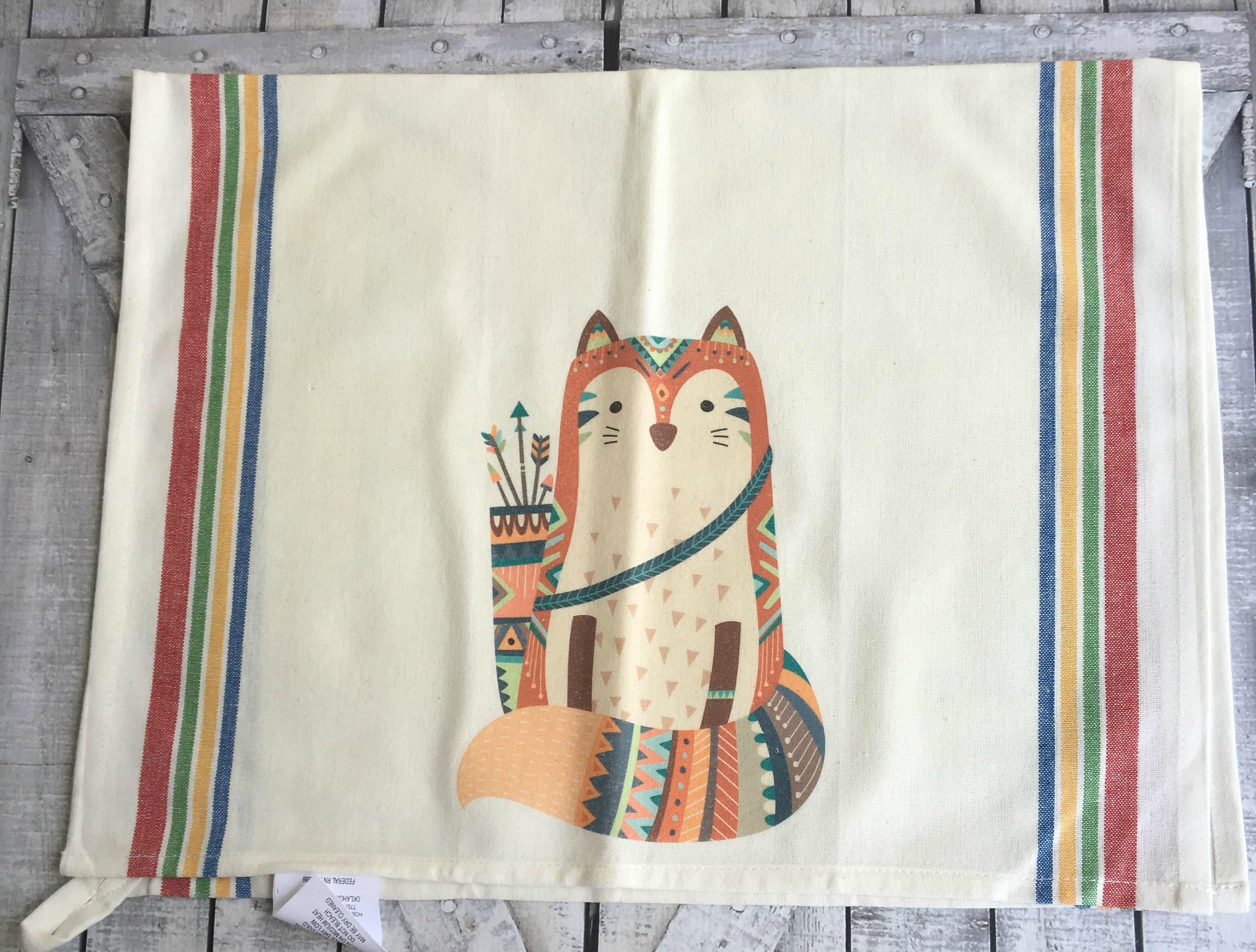 Tribal Fox Kitchen Towel,Dish Towel, Tea Towel,Flour Sack Material,Woodland  Tribal Animals Dish Towels,Flour Sack Kitchen Towel,Dish Cloth