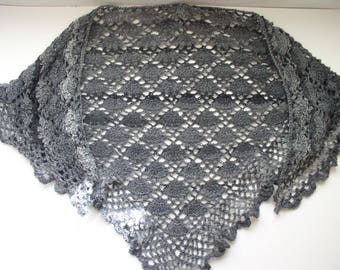 shawl, scarf, neck crochet shades of grey