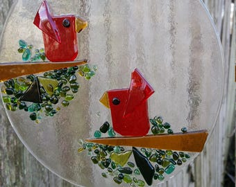 Handmade Fused Glass Red Bird Suncatcher