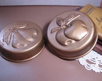 Set of Two (2) Decorative Brass Plated Copper Molds - Apples and Pears